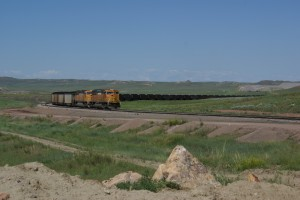 A coal train pulling out of Eagle Butte Mine.