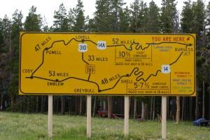 US-14A warning sign at Burgess Junction.