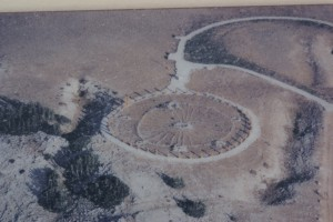 An aerial view of the Medicine Wheel (from a display board).