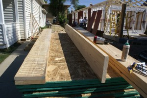 The front porch beams being glued up.