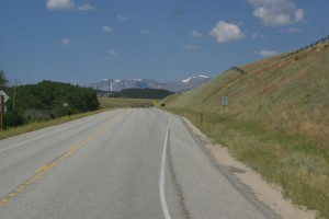 Going uphill into the Bighorns on US-16 west.