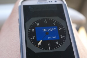 The altimeter app on Linda's Samsung Galaxy S III; very cool, and so was the outside temperature.