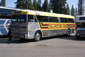 An MCI MC7(?) Yellowstone bus, one of six left in the fleet.