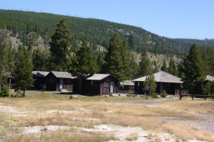 The cabins at the Old Faithful Lodge.  I stayed in one of these 50 years ago.