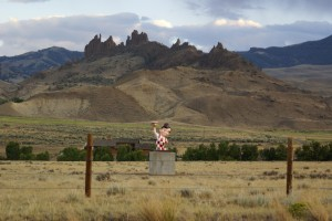 "Big Boy ""Monument"" on US-14/16/20 west of the Buffalo Bill Reservoir."