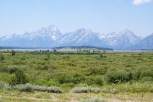 A view of the Teton Range.  The haze is smoke from western forest fires.