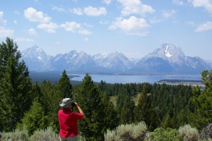 Linda looking at the Tetons from Signal Mountain.