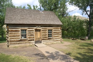 "TR's ""nicer"" log home, now on display in TRNP SU Visitor Center in Medora MT."