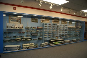 The museum has lots of model buses.