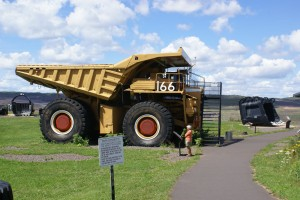 A Caterpillar 170 ton mine hauler with 10.5 ft diameter tires.  They also make a 240 ton with 13 ft diameter tires.  I don't feel as bad now about replacing the 315/80R22.5 Michelins on our rig.