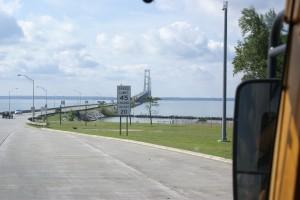 The Mackinac Bridge connects Michigan's two peninsulas.