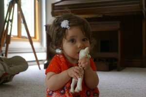 Madeline (8 months old) with her giraffe, Sophie.