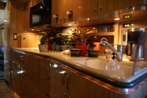 The H3-45 galley features high levels of craftsmanship and style.