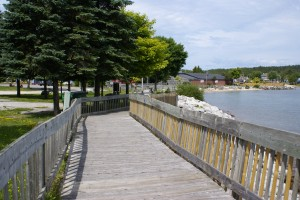 Part of the waterfront boardwalk in St. Ignace.