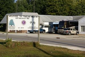 Buses at Service Motors in Twelve Mile, Indiana.
