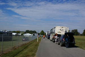 The staging area where towed vehicles get unhooked.