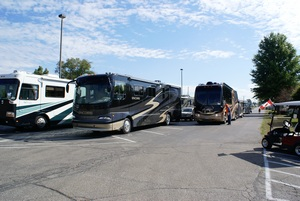 The holding area where RVs are queued for entry and escorted to their sites.