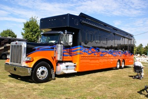 A different kind of motorhome, called a Class D, with a fancy paint job.