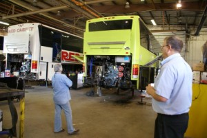 The business end of a bus being reworked.  (Linda wondering if that would fit in our coach.)
