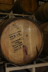 One of the 10-yr-old Bourbon barrels being used to age a special red wine.