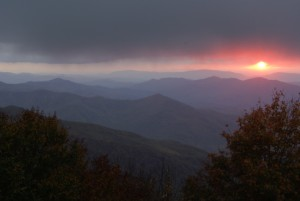 Setting sun from Big Junction overlook, Cherohala Skyway.