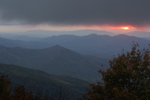 The final glow.  Big Junction, Cherohala Skyway.