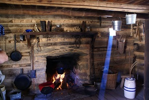 Interior of an early 19th century mountain farmstead cabin.
