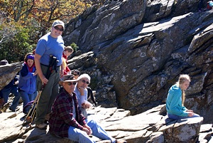 Mary, Ron, and Linda on the Humpback Rocks.