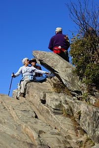 Linda, Ron, and Mary on the Humpback Rocks.
