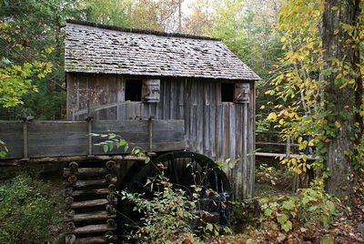 The water powered mill at the Cade Coves Visitor Center area, GSMNP.  The mill was operating, demonstrating the grinding of corn into corn meal.