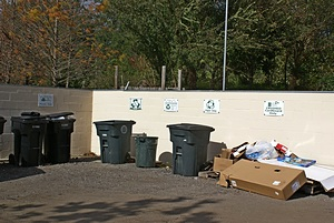 The recycling area.