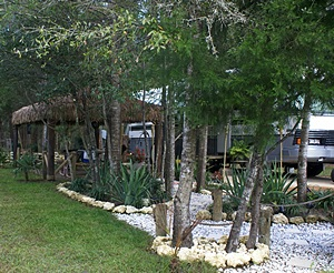 Tiki huts and rock gardens.