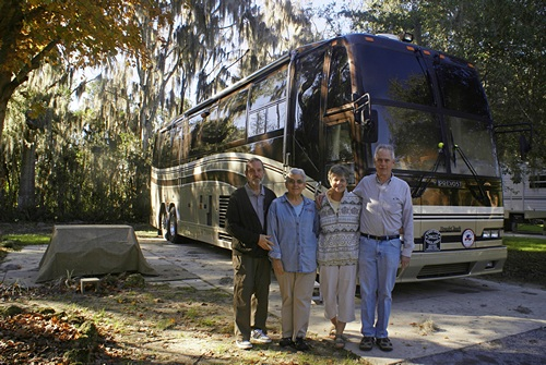 Linda, Bruce, Karen, and Steve at site 439, Williston Crossing RV Resort (FL).