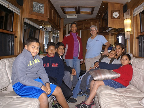 Linda, Norma, Anna (Norma's daughter) and Anna's children in our coach.