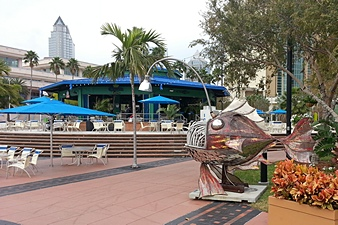 TCC Beer Pavilion and Fish Sculpture.