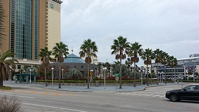 View towards Tampa Forum arena from TCC plaza docks.