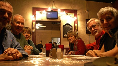 L-to-R Me, John, Marian, Marie, David, and Linda at Angelina Mia's in Williston.