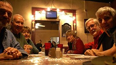 L-to-R Me, John, Marian, Marie, David, and Linda at Angelina Mia's in Williston.