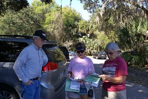 L-to-R: Steve, Karen, and Linda study the maps and park info.