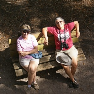 Karen and Linda resting at the base of the observation tower.