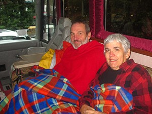Us back at Pat & Vickie's coach getting warm.  (Photo by Vickie Lintner.)