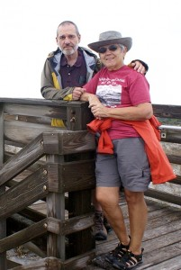 Us on the boardwalk at North Beach, Little Talbot Island SP (FL).