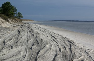 The beach at Amelia Island SP by the George Crady Fishing Bridge SP (FL).  (4x4 vehicles permitted.)