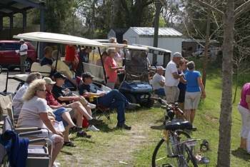 Golf cart rodeo spectators at WC RV Resort.