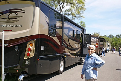 Linda at the Lazydays RV display at Williston Crossings RV Resort.