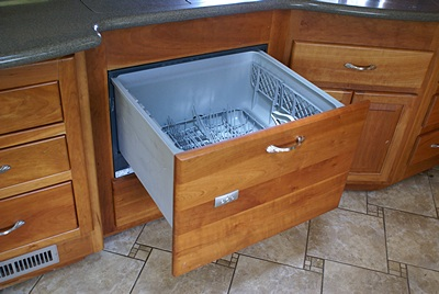 Fisher & Paykel drawer style dishwasher in one fo the Lazydays RV display motorhomes.