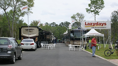 The LazyDays RV display at Williston Crossings RV Resort.