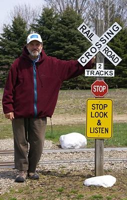 Bruce at the Turkeyville narrow gauge RR X-ing.