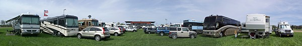 Panorama of EC4HFG horse track infield parking area.