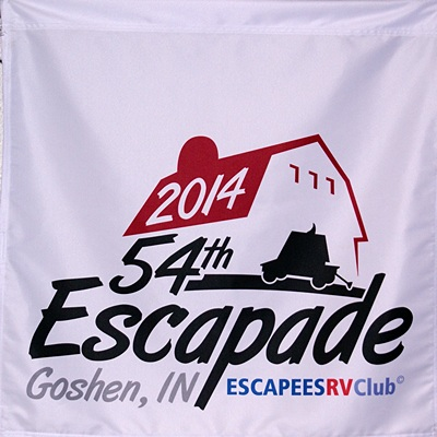The 54th Escapade banner displayed in the hospitality area.